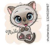 cute cartoon kitten with big... | Shutterstock .eps vector #1324028987