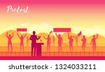 leading a group of... | Shutterstock .eps vector #1324033211