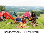 campers in tents listening to... | Shutterstock . vector #132404981