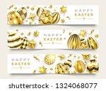 three easter horizontal banners ... | Shutterstock .eps vector #1324068077