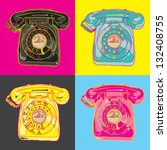 pop art telephone | Shutterstock .eps vector #132408755