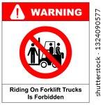riding on forklift trucks is... | Shutterstock . vector #1324090577