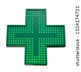 Green Medicine Cross Isolated...