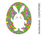 cute easter bunny on green... | Shutterstock .eps vector #1324199381