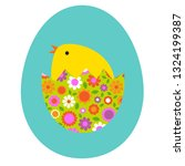 cute baby chick hatching in... | Shutterstock .eps vector #1324199387