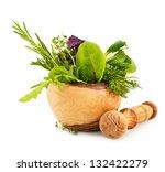 mortar with fresh herbs... | Shutterstock . vector #132422279