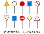 traffic road realistic signs.... | Shutterstock .eps vector #1324251761