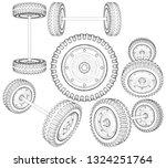 truck wheels suspension system... | Shutterstock .eps vector #1324251764
