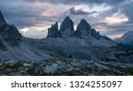 beautiful scene of tre cime and ... | Shutterstock . vector #1324255097