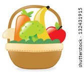 fresh fruits and veggies in a... | Shutterstock .eps vector #132431915