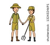 couple of workers zoo characters | Shutterstock .eps vector #1324324691