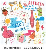 summer kawaii doodle | Shutterstock .eps vector #1324328021