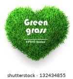 green grass heart. vector... | Shutterstock .eps vector #132434855