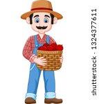 cartoon farmer holding a basket ... | Shutterstock .eps vector #1324377611