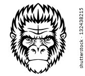 ape head logo in black and... | Shutterstock . vector #132438215