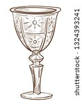 glass cup crystal goblet or... | Shutterstock .eps vector #1324393241