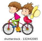 illustration of a girl and a... | Shutterstock .eps vector #132442085