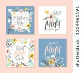 set of cute greeting cards for... | Shutterstock .eps vector #1324461191