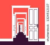 doors open in many rooms.... | Shutterstock .eps vector #1324512137