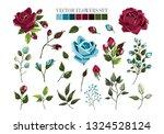 set of bordo burgundy and navy... | Shutterstock .eps vector #1324528124