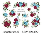 set of bouquets bordo and navy...   Shutterstock .eps vector #1324528127