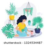 home gardening character  woman ...   Shutterstock .eps vector #1324534487