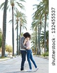 young touristic couple hugging... | Shutterstock . vector #132455537
