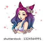 pretty cartoon girl with wavy... | Shutterstock .eps vector #1324564991