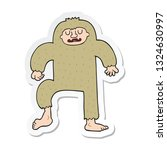 Stock vector sticker of a cartoon bigfoot 1324630997