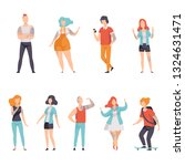 modern people with tattoos set  ... | Shutterstock .eps vector #1324631471