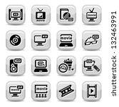 elegant movie icons set created ... | Shutterstock .eps vector #132463991