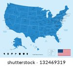 map of usa in blue color.... | Shutterstock .eps vector #132469319