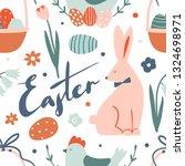 easter seamless pattern. cute... | Shutterstock .eps vector #1324698971