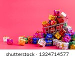 small shopping cart with... | Shutterstock . vector #1324714577