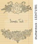 floral doodle on paper sheet ... | Shutterstock .eps vector #132471581