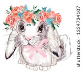 fashion illustration with bunny ... | Shutterstock .eps vector #1324734107