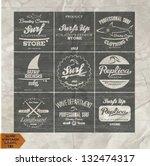 vector retro surf label set. | Shutterstock .eps vector #132474317