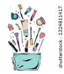 cosmetic bag with stuff in it ... | Shutterstock .eps vector #1324811417