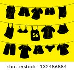 Stock vector various clothes on washing line 132486884