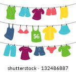 Stock vector various clothes on washing line 132486887