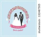 wedding invitation flower arch   Shutterstock .eps vector #132487505