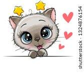 cute drawing siamese  kitten on ... | Shutterstock .eps vector #1324876154