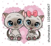 Two Cute Cartoon Kittens On A...