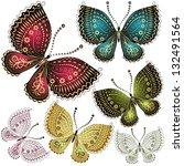 Stock vector set fantasy colorful vintage butterflies vector 132491564