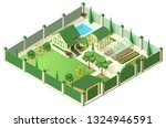 private house yard with plot of ... | Shutterstock .eps vector #1324946591