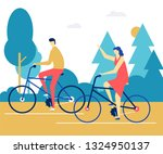 couple cycling   flat design... | Shutterstock .eps vector #1324950137