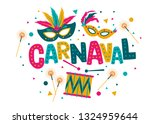 carnival card or banner with...   Shutterstock .eps vector #1324959644