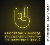rock on gesture neon light icon.... | Shutterstock .eps vector #1324973654