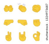 hand gesture emojis color icons ... | Shutterstock .eps vector #1324973687