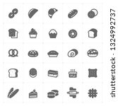 icon set   bakery and bread... | Shutterstock .eps vector #1324992737